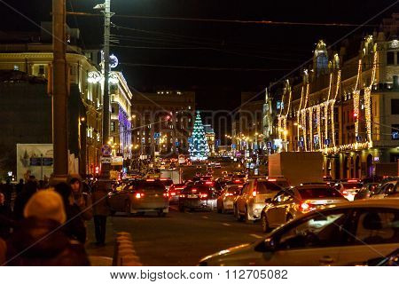 Evening Moscow, Capital Of Russia Before The New Year And Orthodox Christmas.