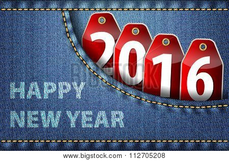 Happy New Year Greetings And 2016 Digits On Red Tags