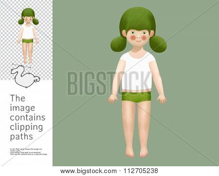 The illustration of the green-haired doll.  A part of Dodo collection - a set of educational cards for children. The image has clipping paths and you can cut the image from the background.