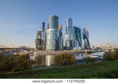 Cityscape of skyscrapers Moscow City complex at the evening.