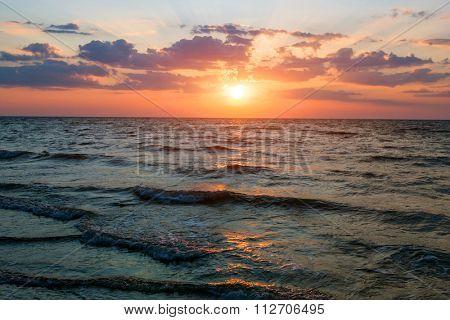 Nice sunset landscape on sea