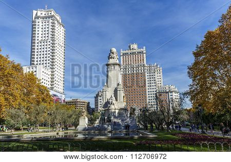 Madrid Spain - November 27 2015: Monument of Miguel de Cervantes with statue of Don Quixote and Sancho Panza on Square of Spain in Madrid