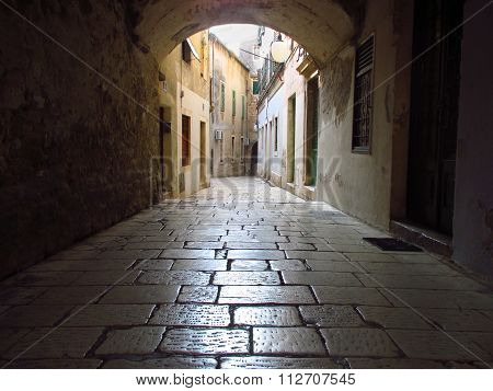 Old And Narrow Street In Split, Croatia