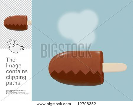 The illustration of a ice cream covered in chocolate.  A part of Dodo collection - a set of educational cards for children. The image has clipping paths and you can cut the image from the background.