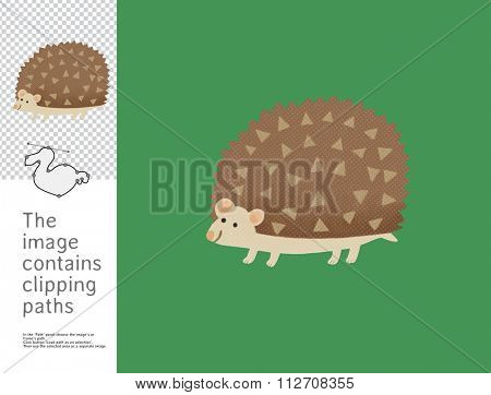 The illustration of a smiling hedgehog.  A part of Dodo collection - a set of educational cards for children. The image has clipping paths and you can cut the image from the background.