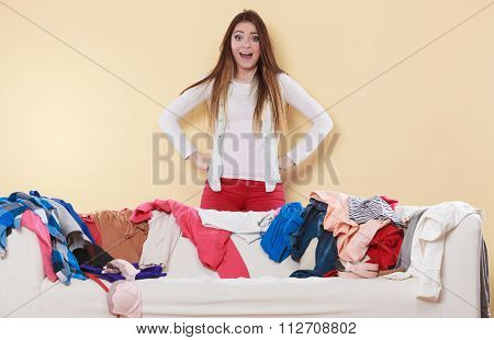 Woman Freaking Out In Messy Room Home.
