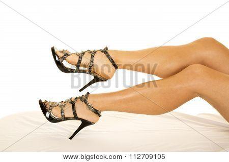 Woman Snake Skin Heels Legs Close