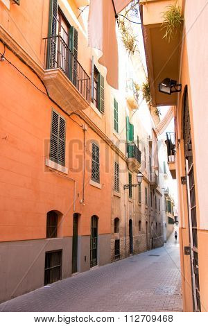 Narrow Street In Palma Old Town, Mallorca, Majorca, Spain
