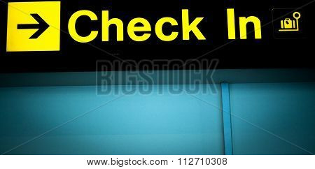 Airport Information Checkin Sign Light