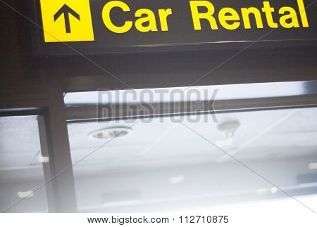 Airport Information Car Rental Sign