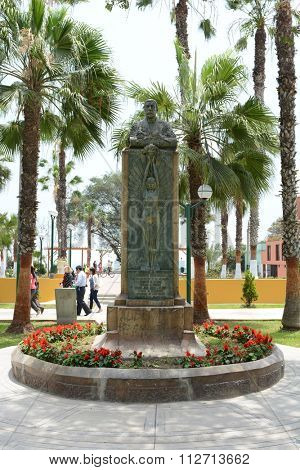BARRANCO, PERU - OCTOBER 18, 2015: Statue Frederico Villareal Park. Located in the heart of the Barranco district of Lima, Peru.