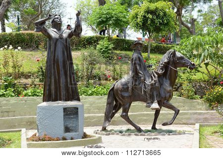 BARRANCO, PERU - OCTOBER 18, 2015: Chabuca Granda Statue. The memorial to the native singer and composer is in the Barranco District of Lima.