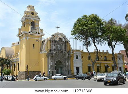BARRANCO, PERU - OCTOBER 18, 2015: Holy Cross Church (Iglesia La SantiAsima Cruz). Started in 1944 and inaugurated in 1963 in the Barranco District.