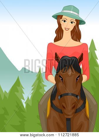 Illustration of a Woman on a Horseback Riding Tour