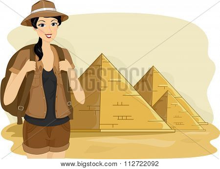 Illustration of a Female Tourist Visiting the Pyramids of Egypt