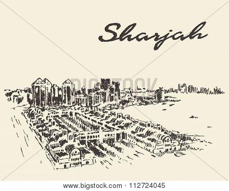 Sharjah Arab Emirates skyline vector drawn sketch