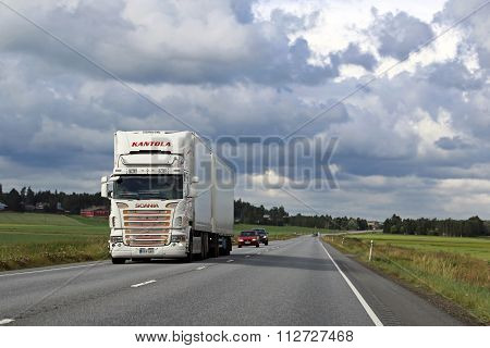 White Scania Reefer Truck Landscape