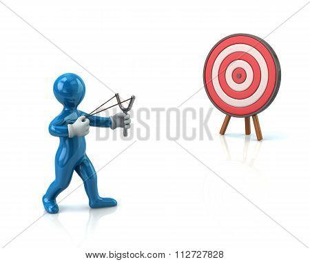 Blue Man Aiming Slingshot At Target
