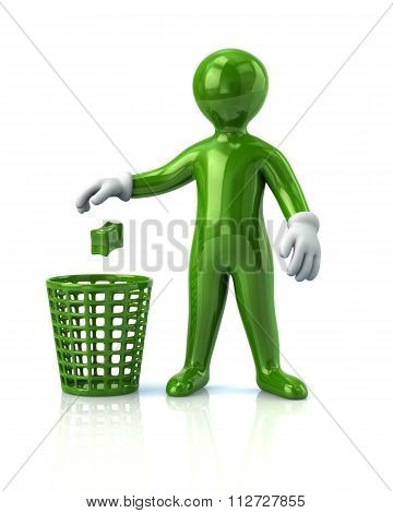 Green Man Throwing Garbage In A Trash Can
