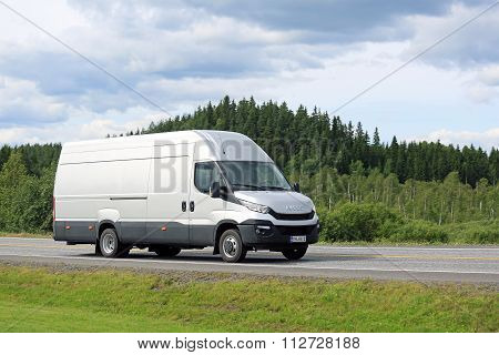 New Iveco Daily Van On The Road In Summer
