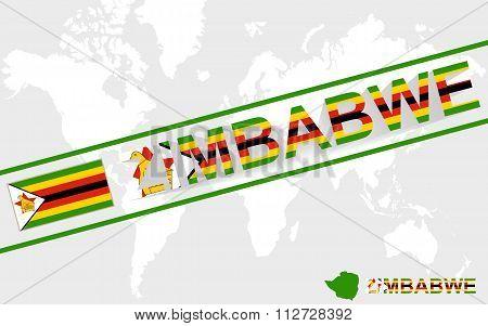 Zimbabwe Map Flag And Text Illustration