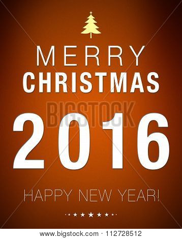 Merry Christmas 2016 Happy New Year Brown Background