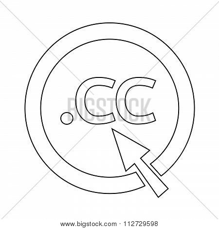Domain Dot Cc Sign Icon Illustration