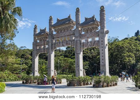 Hong Kong, China - Circa September 2015: Traditional Chinese Gates With Three Sections In Po Lin  Mo