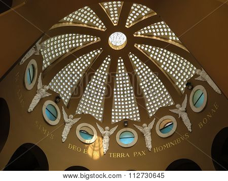 Bethlehem. Palestine, July 12, 2015: The Dome Inside The Church At The Shepherds In Bethlehem