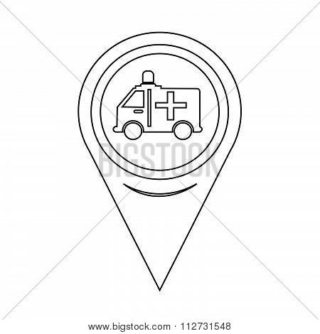 Map Pointer Ambulance Car Icon