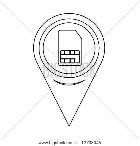 Map Pin Pointer Sim Card Icon
