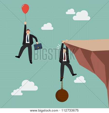 Businessman With Red Balloon Fly Pass Businessman Hold On The Cliff With Burden