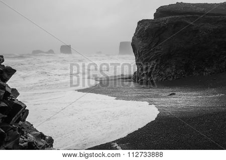 black and white storm in Iceland