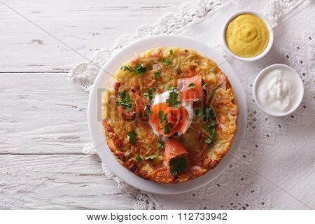 Potato Pancakes With Smoked Salmon And Sauce. Horizontal Top View