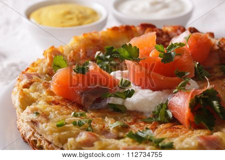 Swiss Cuisine: Potato Pancakes With Salmon Macro Horizontal