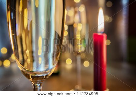 Champagne Glasses With Candle