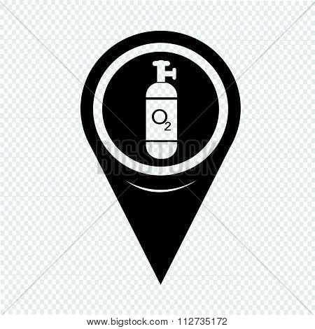 Map Pin Pointer Oxygen Cylinder Icon