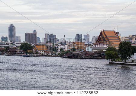 Bangkok, Thailand - Circa September 2015: View Of Chao Phraya River And Southern Bangkok,  Thailand