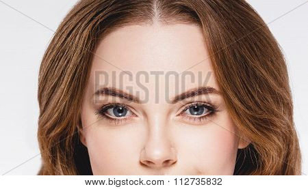 Beautiful Woman Part Of The Face Eyes And Nose Close Up Portrait Studio Isolated On White
