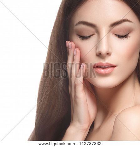 Beautiful Woman Portrait Face Close Up Touching Her Face By Fingers Isolated On White