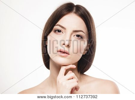 Beautiful Woman Face Close Up Touching Her Chin By Fingers Studio Isolated On White
