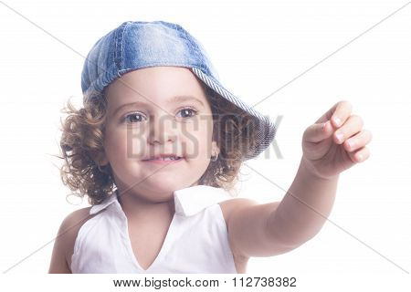 Smiling Little Girl Pointing With Hand
