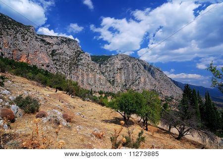 Parnassus Mountains At Delphi, Greece