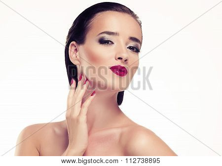 Woman Beauty Portrait Studio With Pink Lips Manicure Short Black Hair Isolated On White