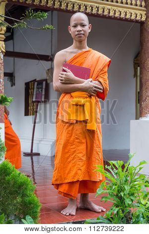 Luang Prabang, Laos - Circa August 2015: Buddhist Monk In Luang Prabang,  Laos
