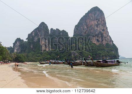 Krabi, Thailand - Circa September 2015: Boats And Limestone Cliffs Of Railay Beach In Krabi,  Thaila