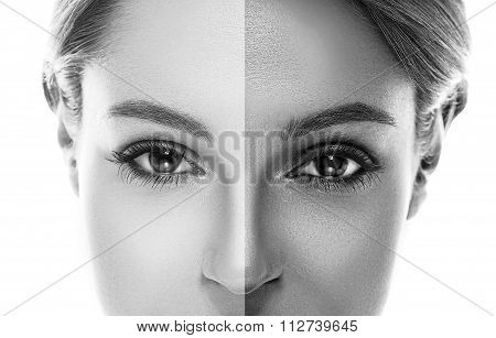 Woman Half Face Tan. Nose And Eyes. Beautiful Portrait Black And White