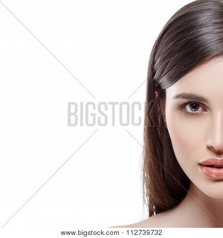 Beautiful Woman Half Face Studio On White With Sexy Lips Isolated On White