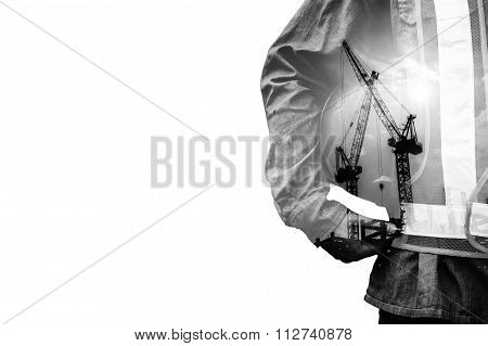 Double exposure concept with worker man background