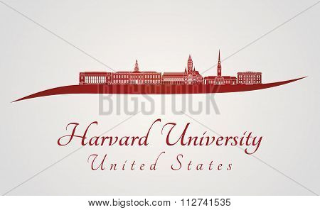 Harvard University Skyline In Red